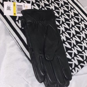 New Michael Kors scarf and leather gloves